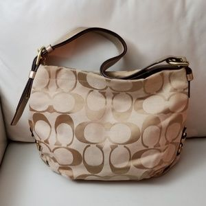 Coach shoulder/crossbody bag tan metallic strap